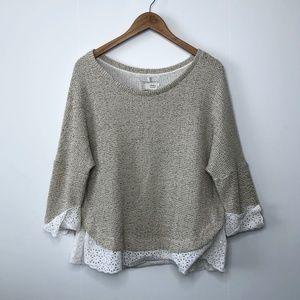 SATURDAY SUNDAY Nolina Eyelet Trim Knit Sweater